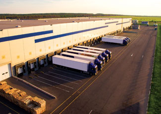 aerial view of loading docks at a large warehouse