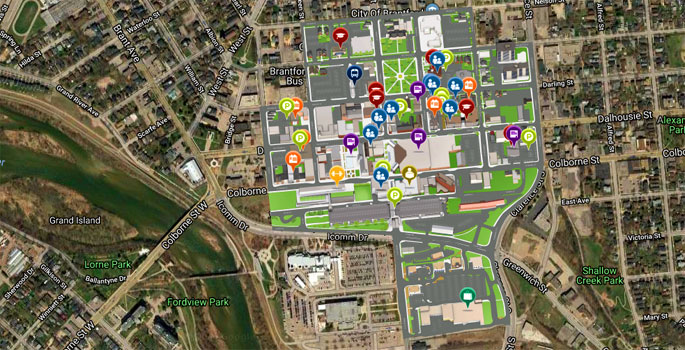 interactive map of Wilfrid Laurier University Brantford Campus