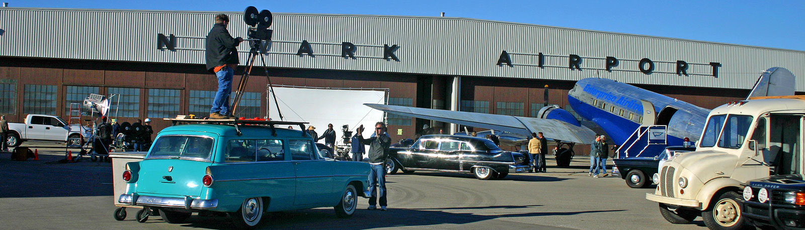 filming a period piece at the Brantford Municipal Airport