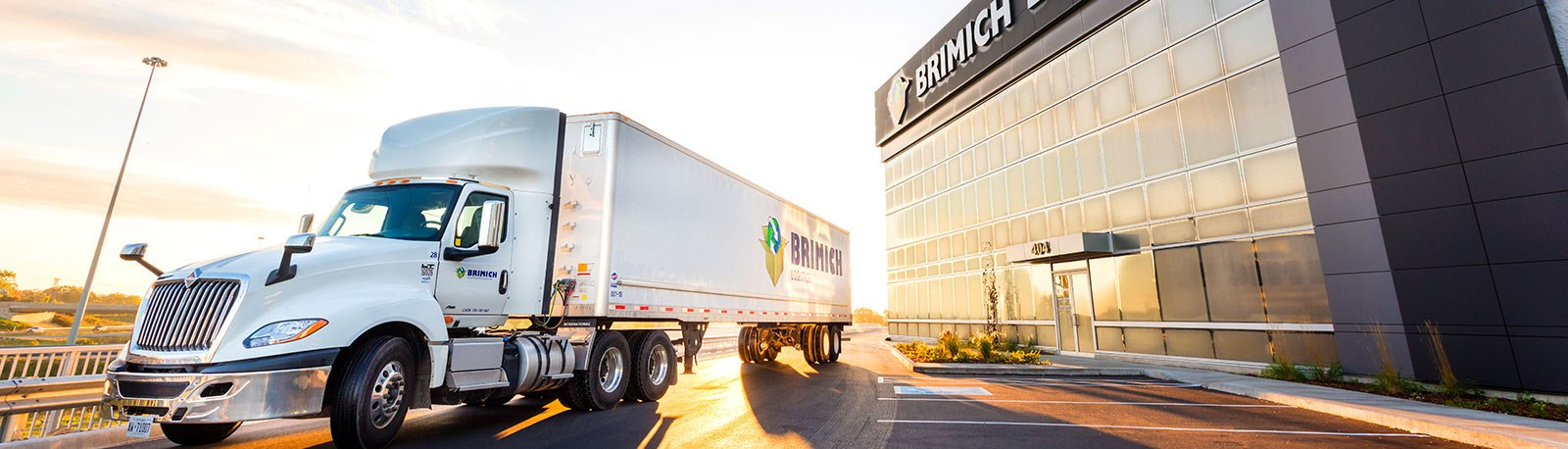 tractor trailer outisde of Brimich Logistics