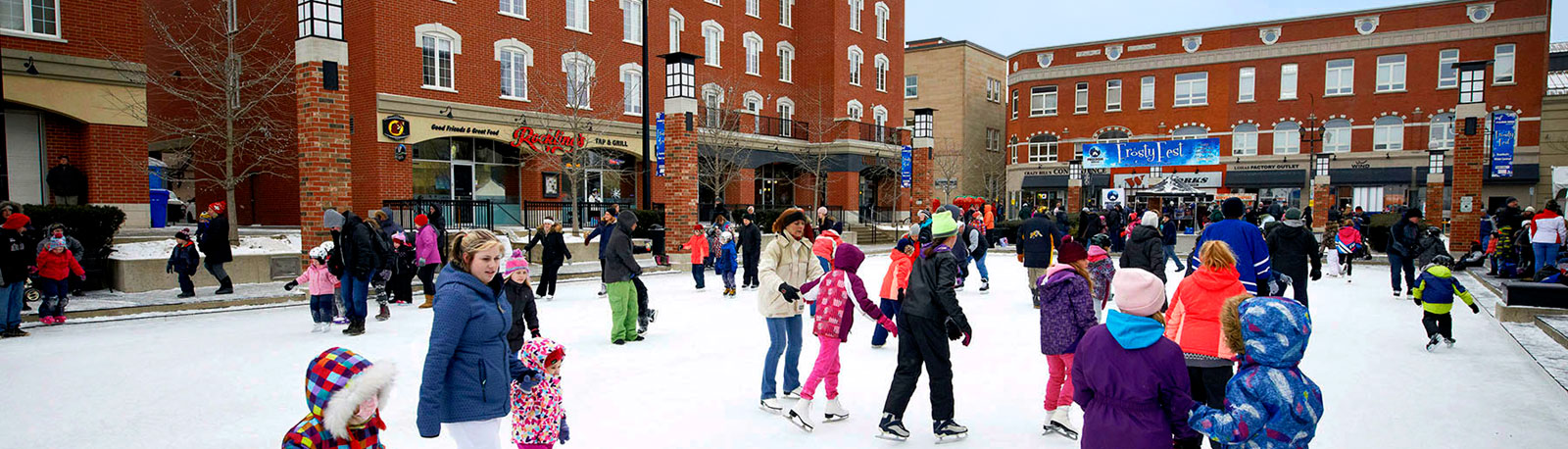 ice skaters at Harmony Square in Downtown Brantford