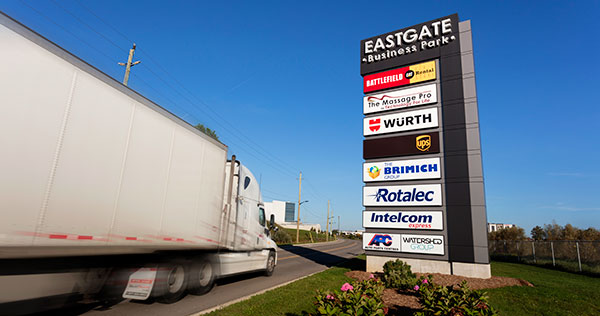 Truck entering a business park