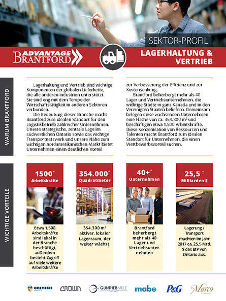 front of the Warehousing and Distribution sector profile in German