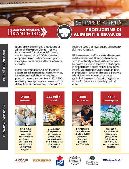 front of the Food and Beverage Manufacturing sector profile in Italian