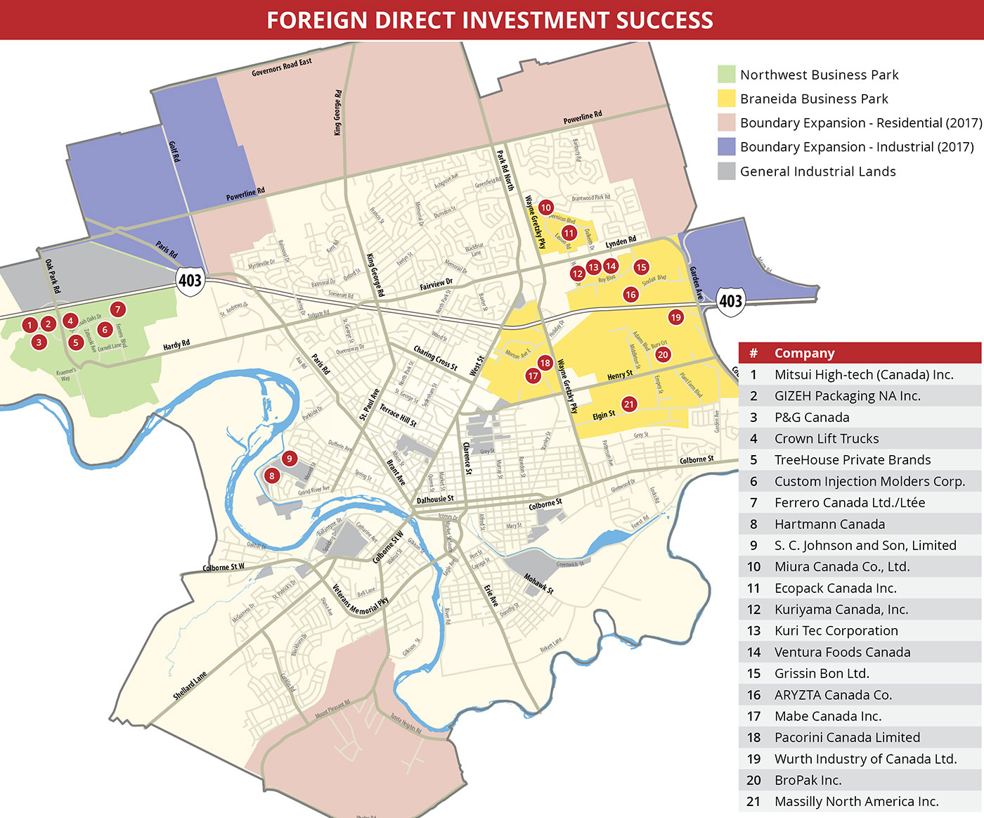 map of Brantford with Foreign Direct Investment locations