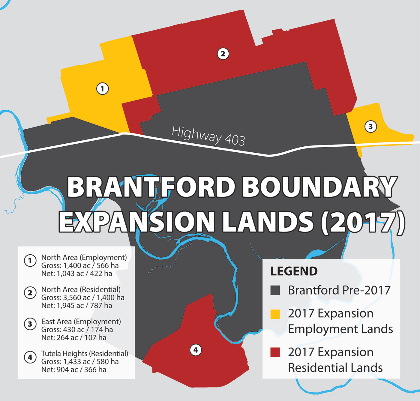 map of Brantford with 2017 Expansion Boundary Lands