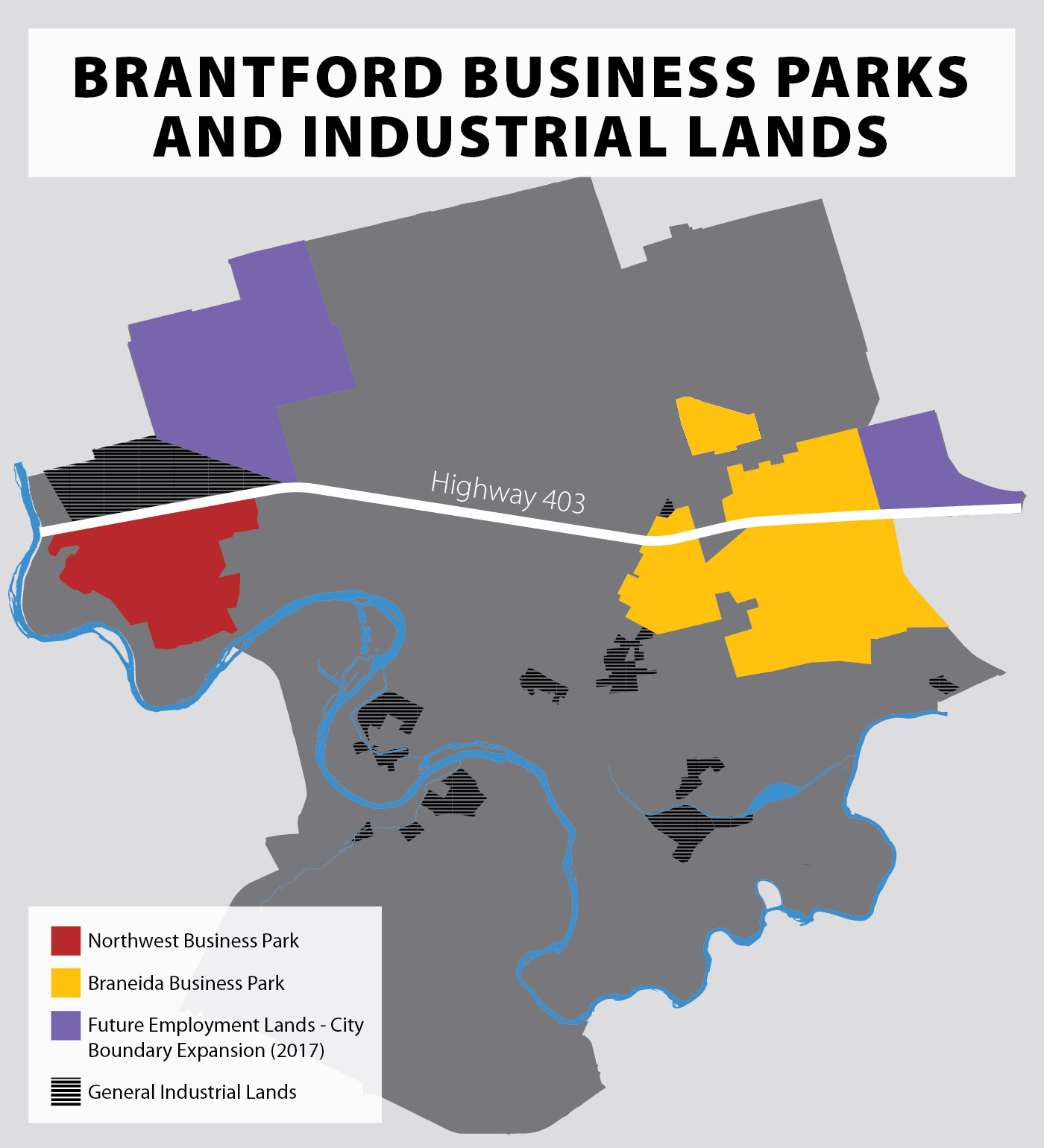 map of business parks and industrial land in Brantford