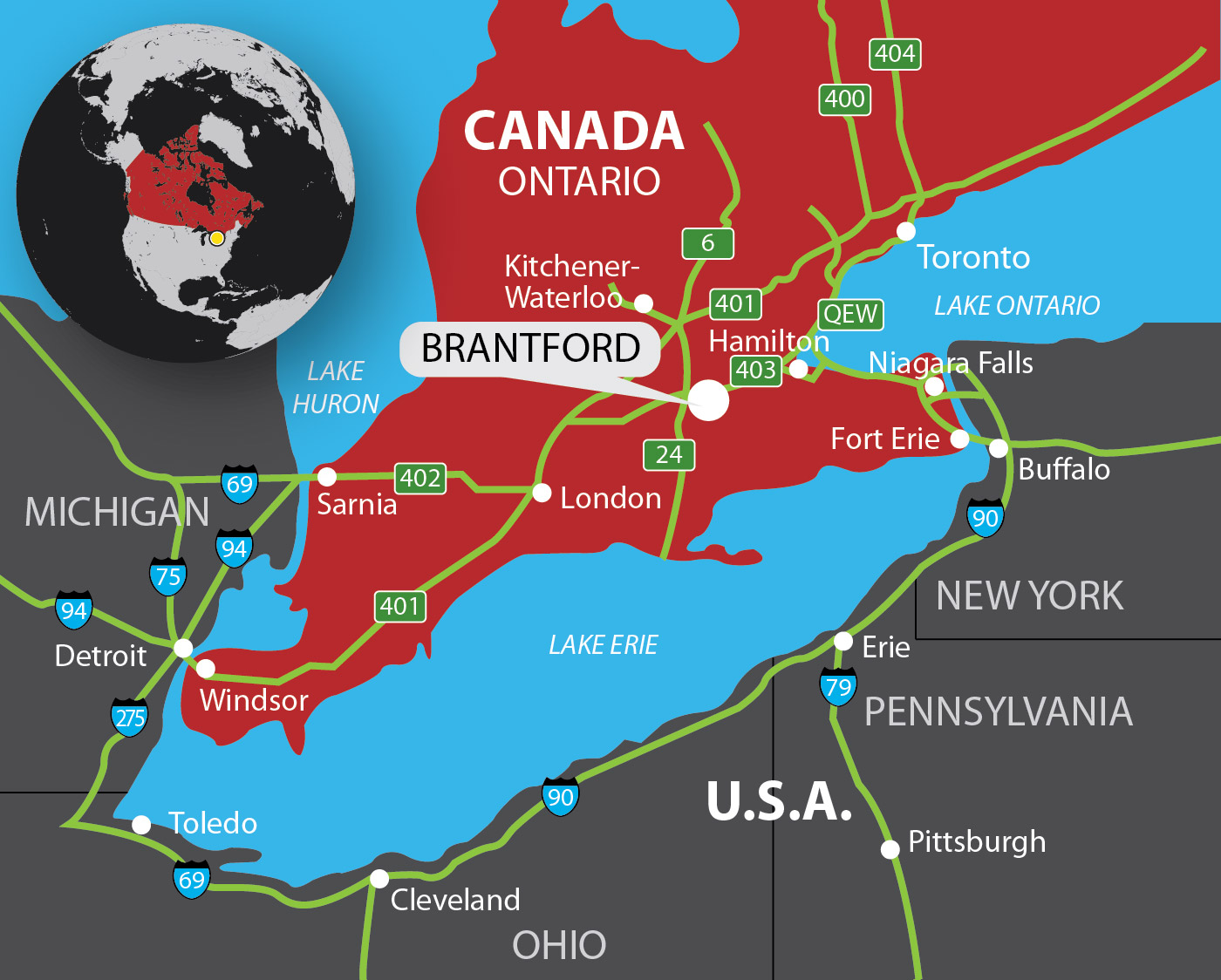 map of Brantford in Southern Ontario