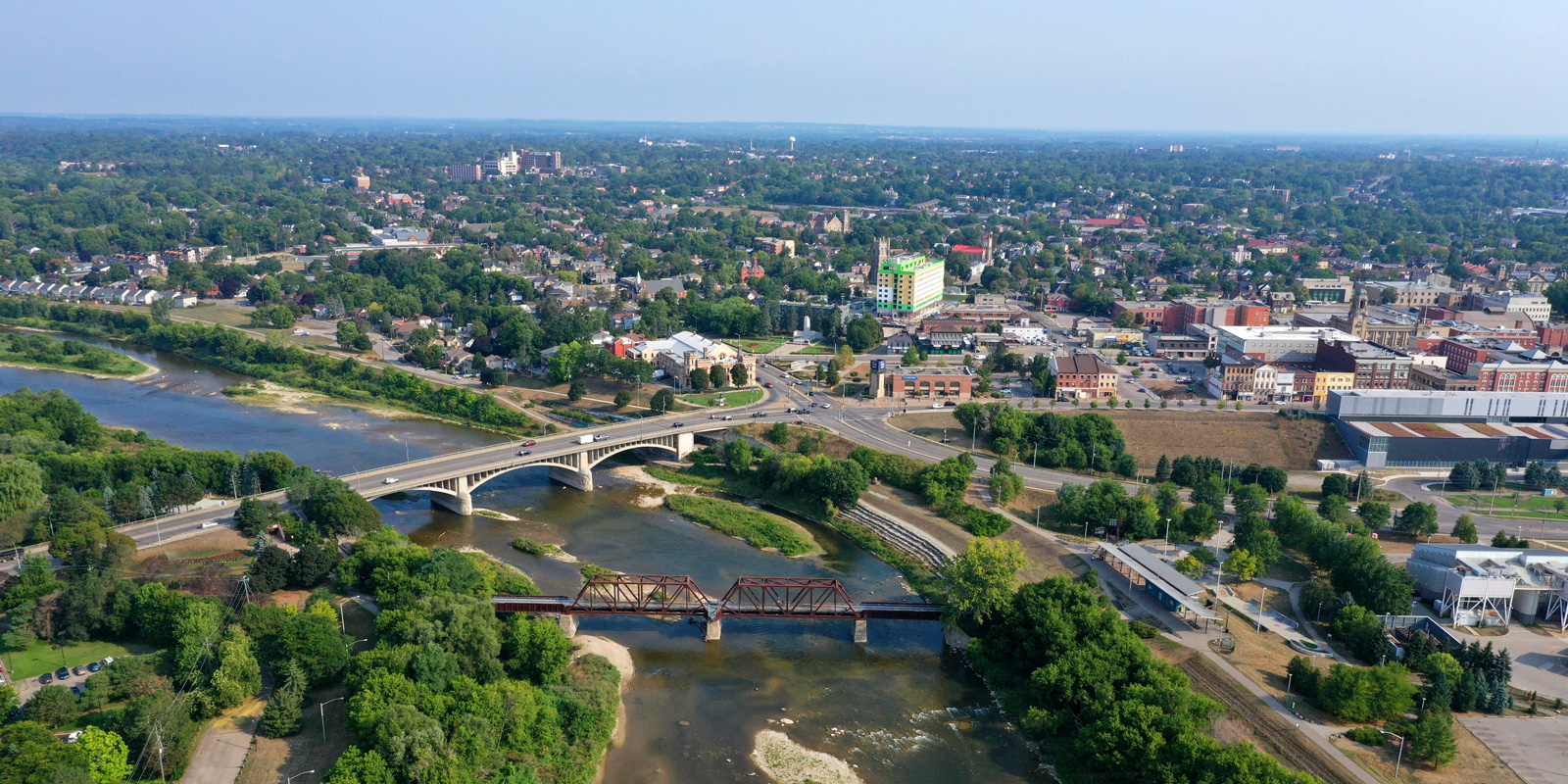 aerial of Brantford looking north from the Grand River to the downtown